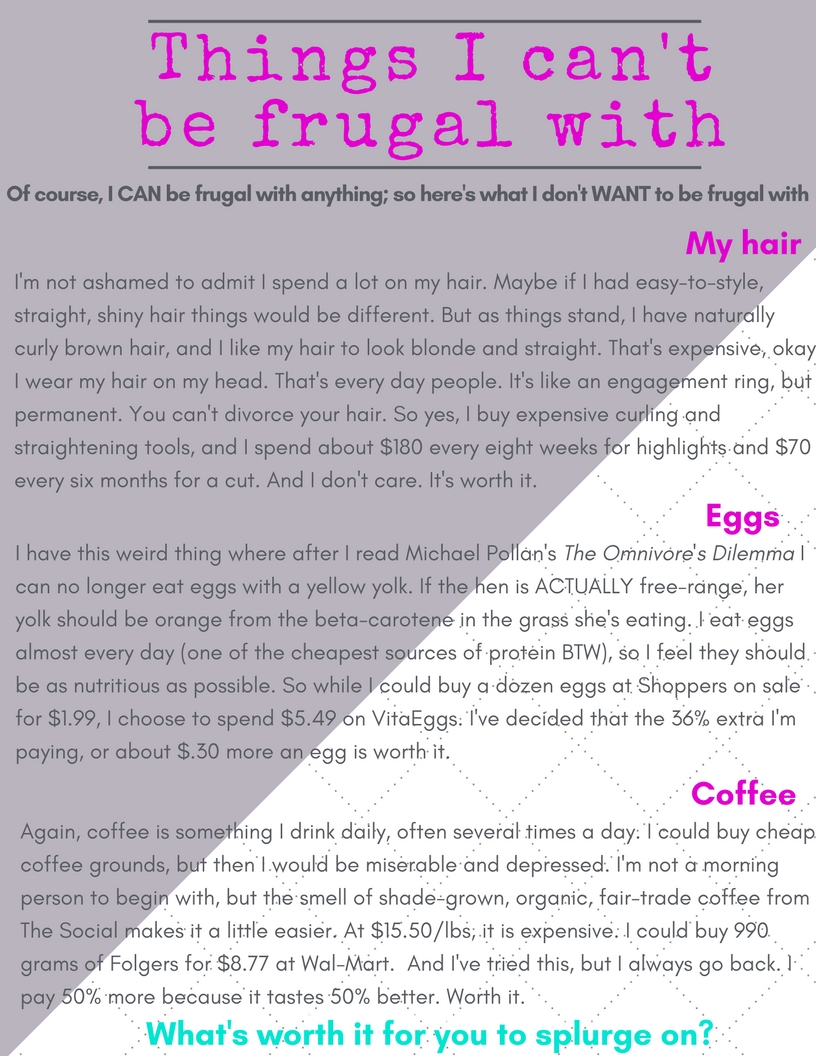 Things I can't be frugal with